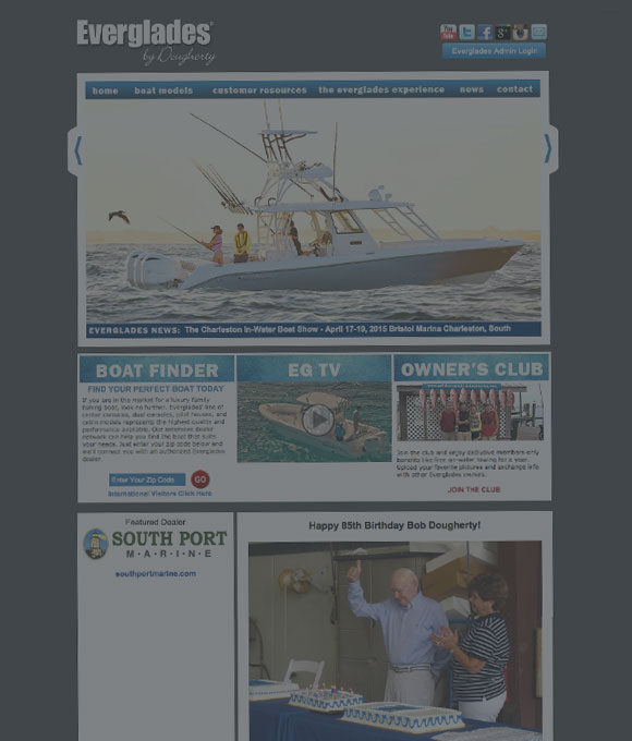 Everglades Boats Website Before