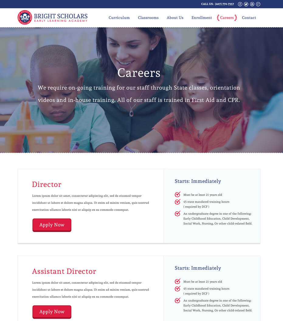 day care website design
