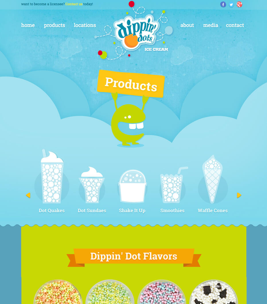 website design for dippin dots products