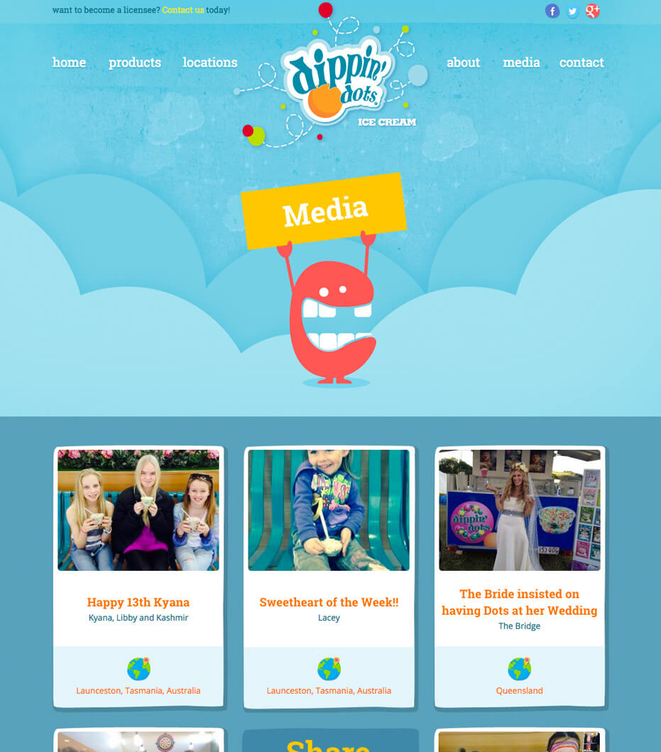 blog design for dippin dots
