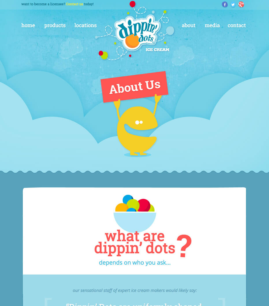 about us page for dippin dots website
