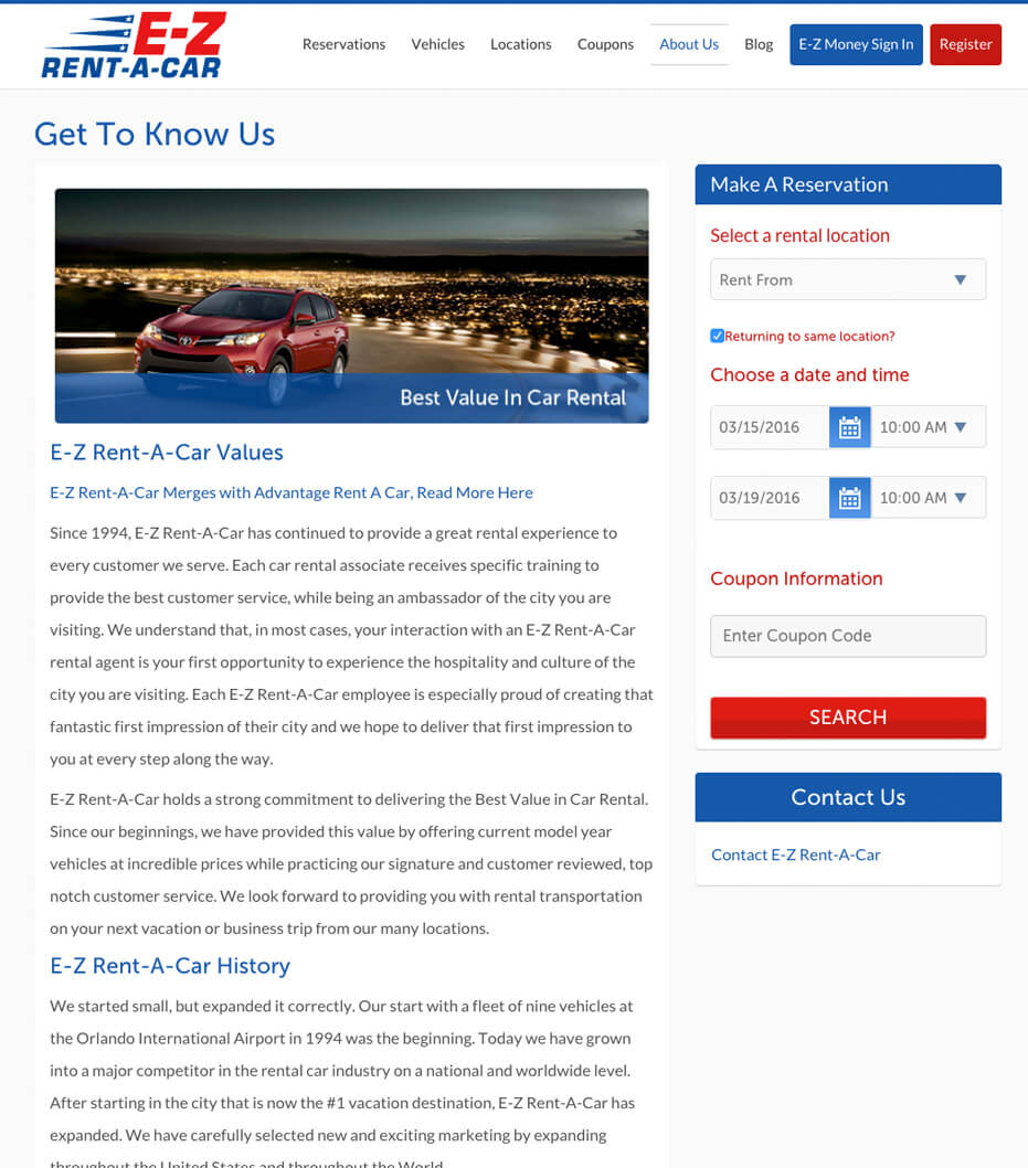 Blog for rental car company
