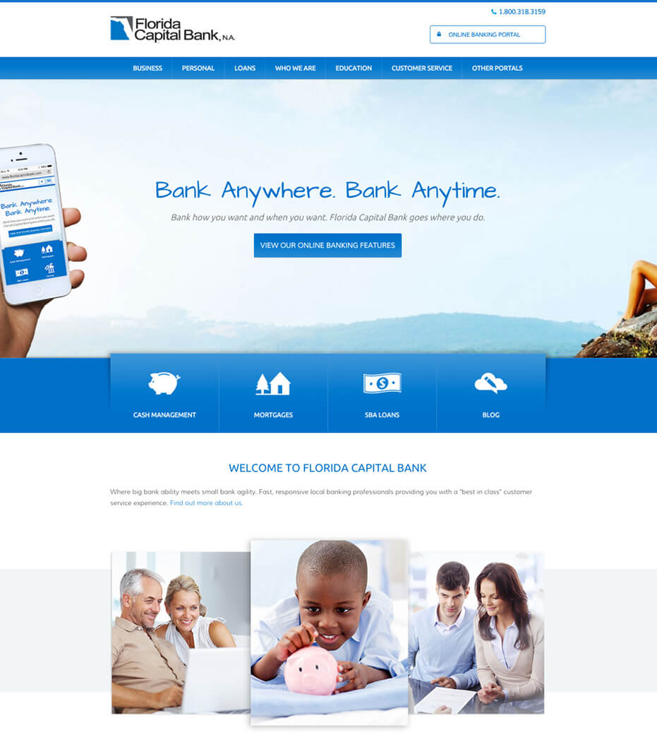 Florida capital bank website design