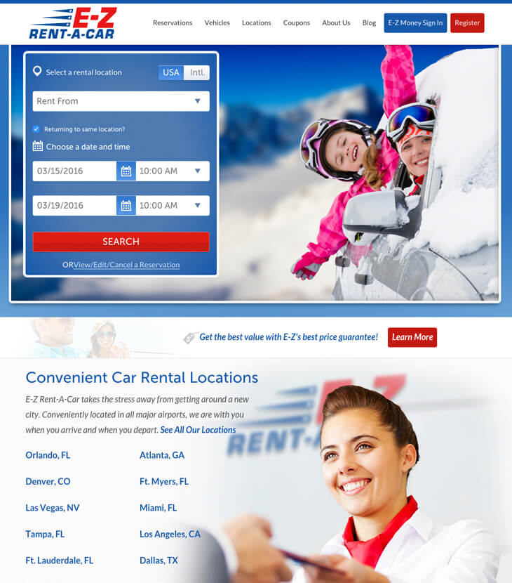 Redesigned E-Z Rent-A-Car website