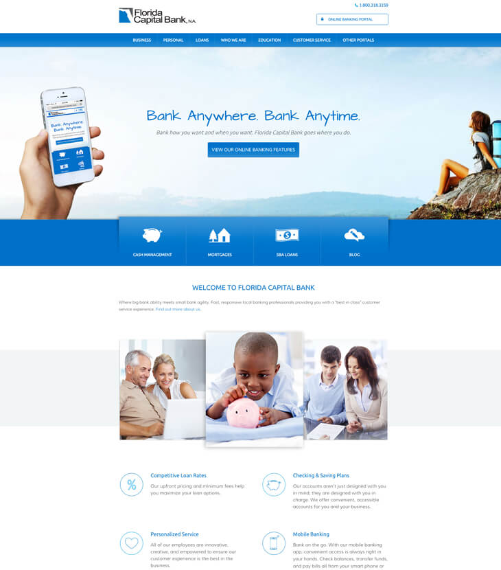 Redesigned Florida Capital Bank website
