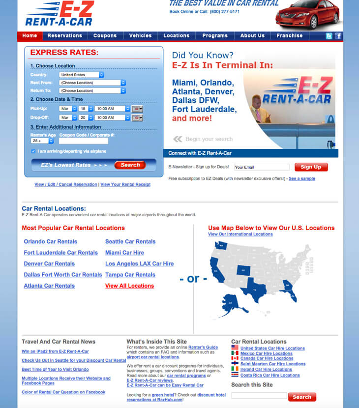 Old E-Z Rent-A-Car website