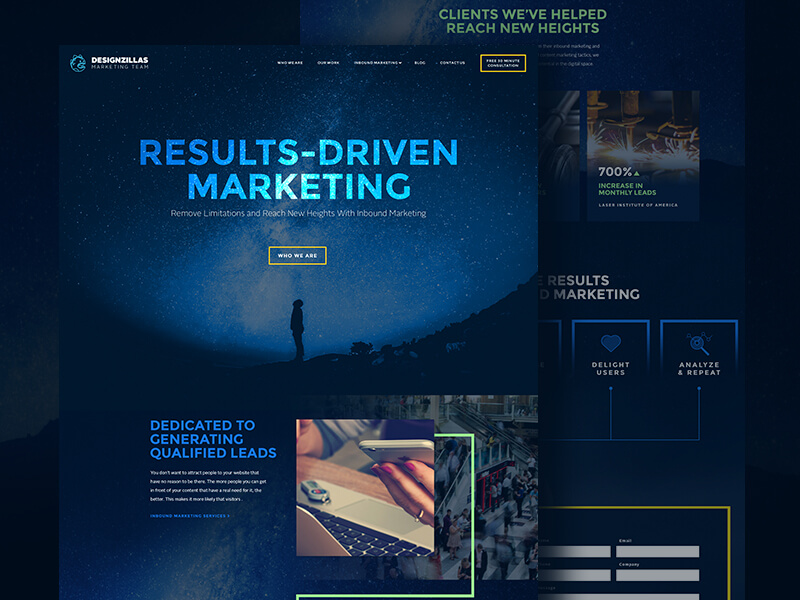 Marketingzillas website design