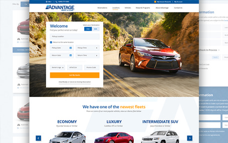 UI redesign for car rental company Advantage Rent-A-Car