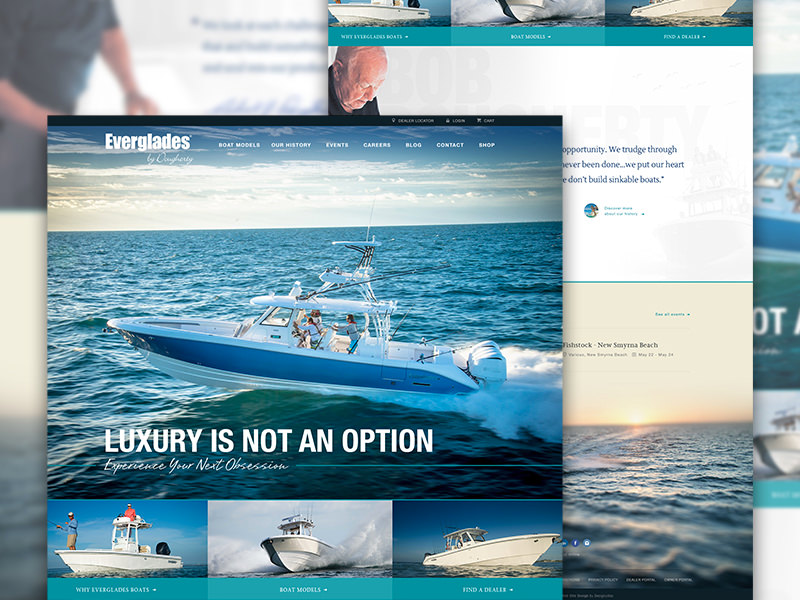 Custom boating website for Everglades Boats