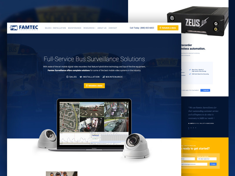Custom website redesign for Famtec