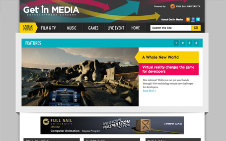 Drupal website design and development for Get In Media powered by FullSail