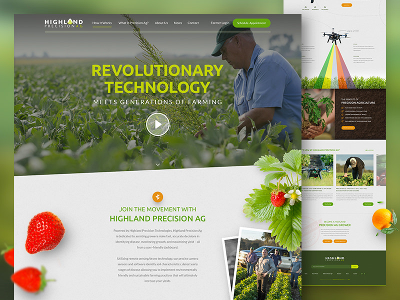 Website design and development for Highland Ag