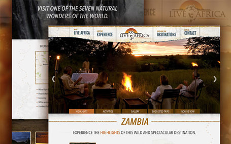 Website redesign for luxury travel company Live Africa