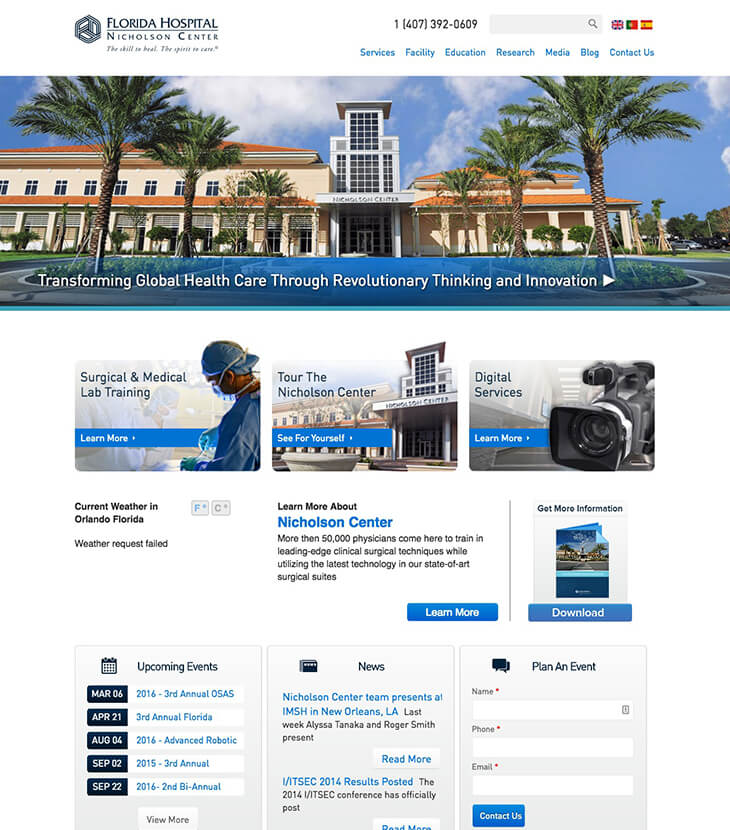 Original Florida hospital website design