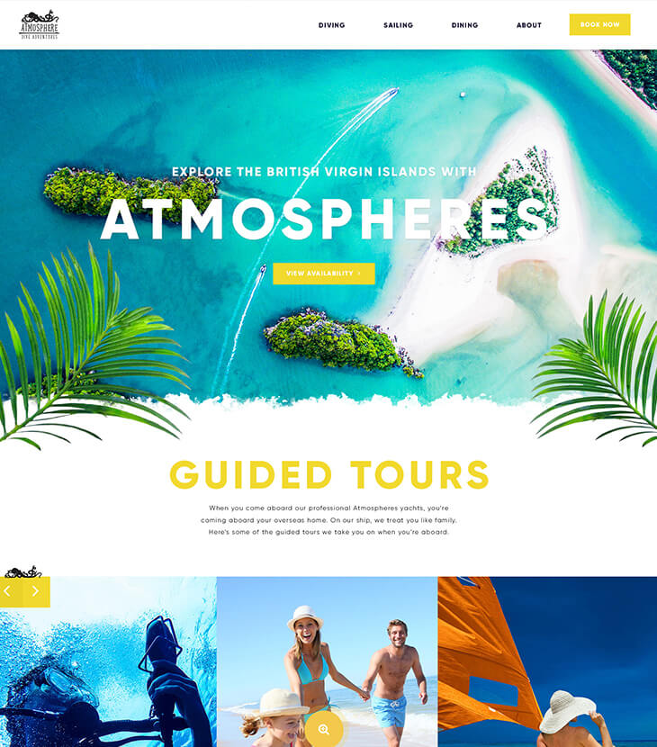 atmospheres new home page design