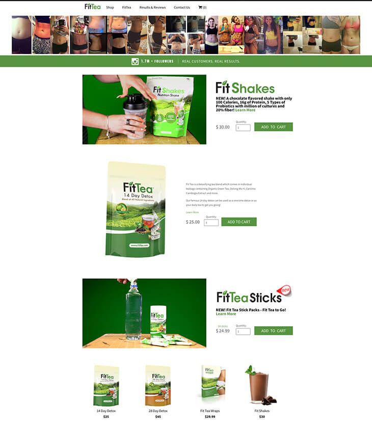Fit Tea home page before redesign