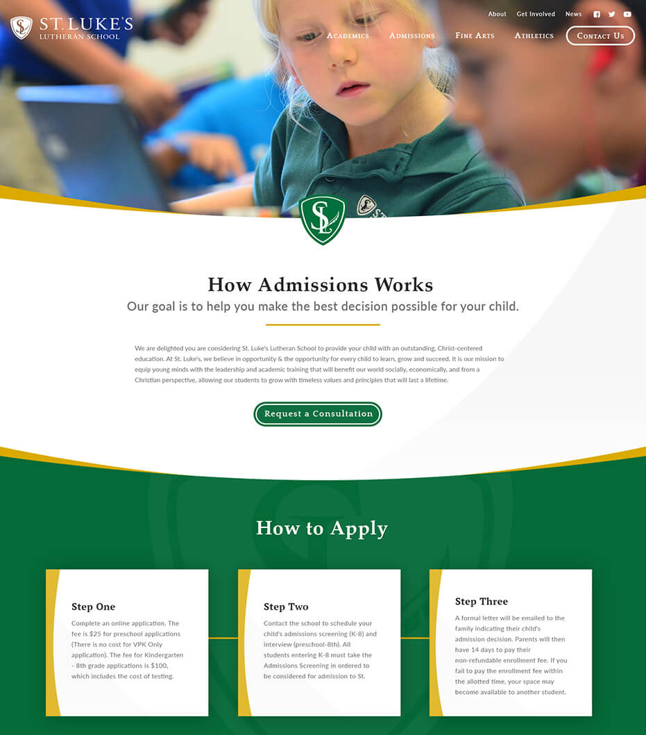 St. Luke's admissions page redesign