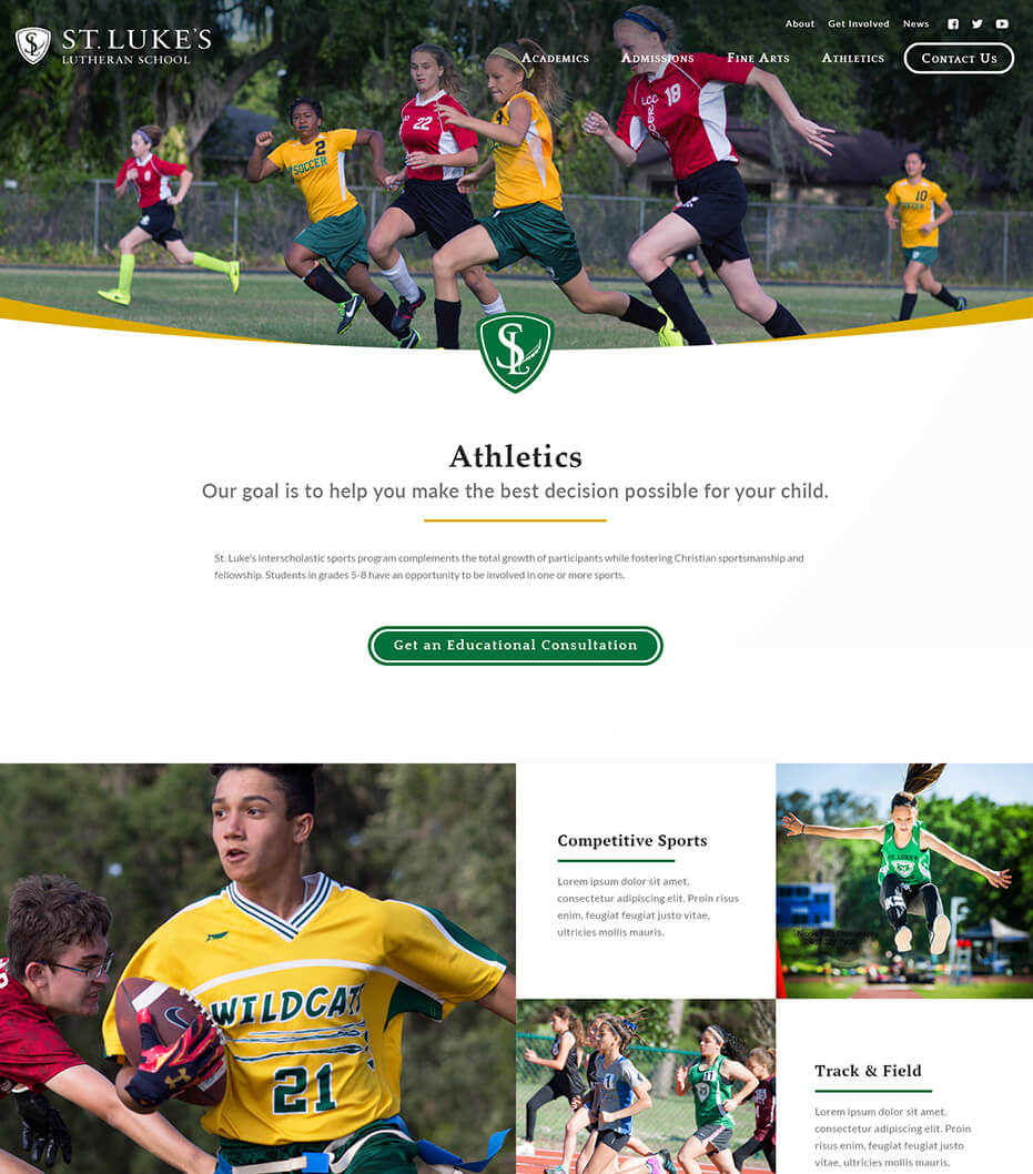 St. Luke's athletics page redesign