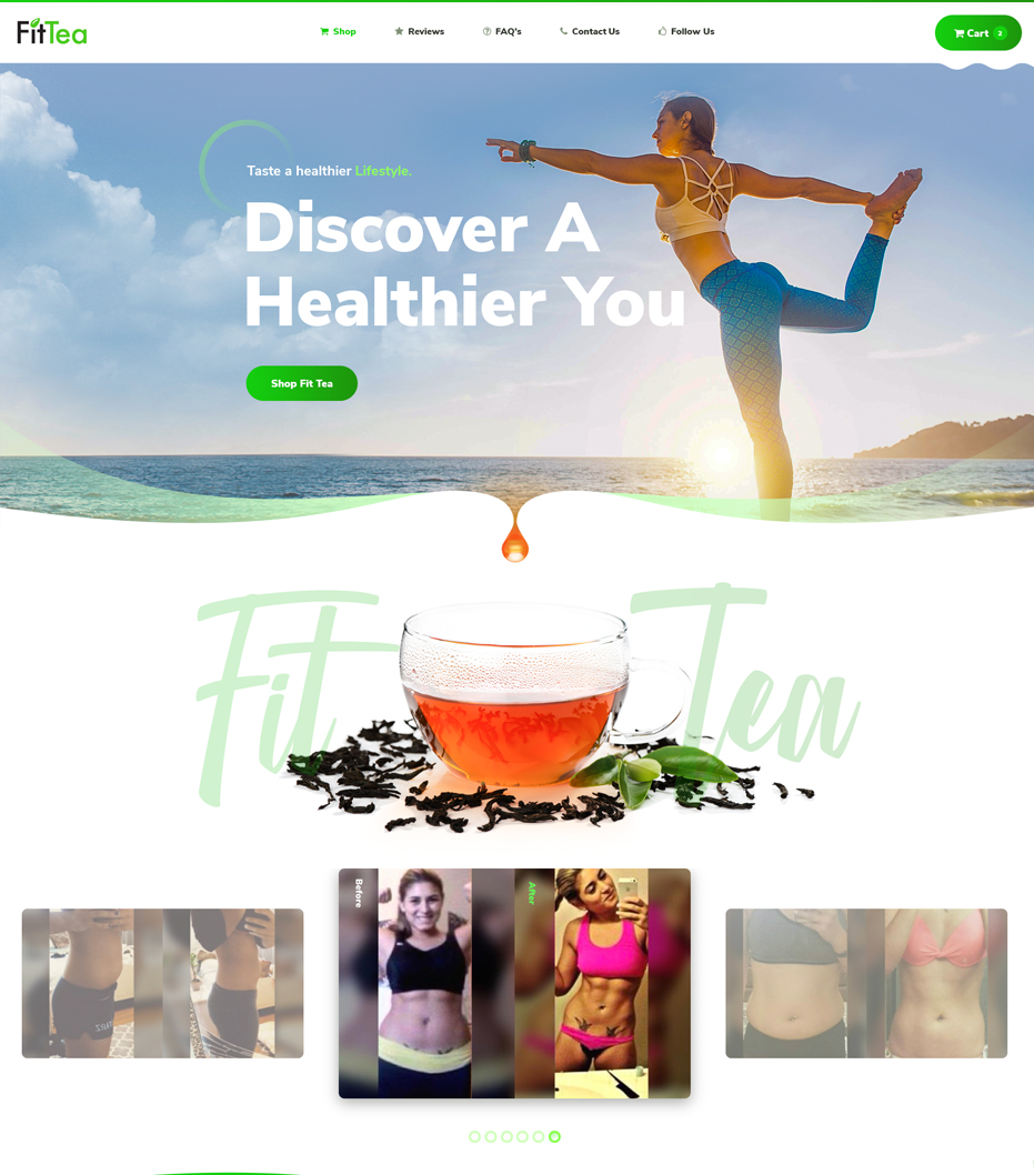 Fit Tea home page website design