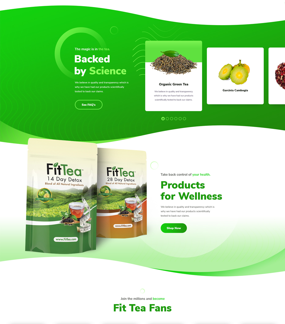 Fit Tea home page website design ingredients