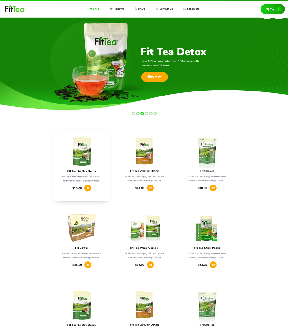 Fit Tea shop page website design