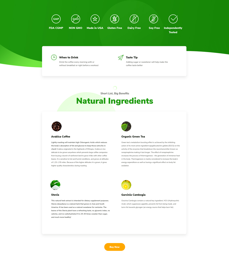 Fit Tea product page website design