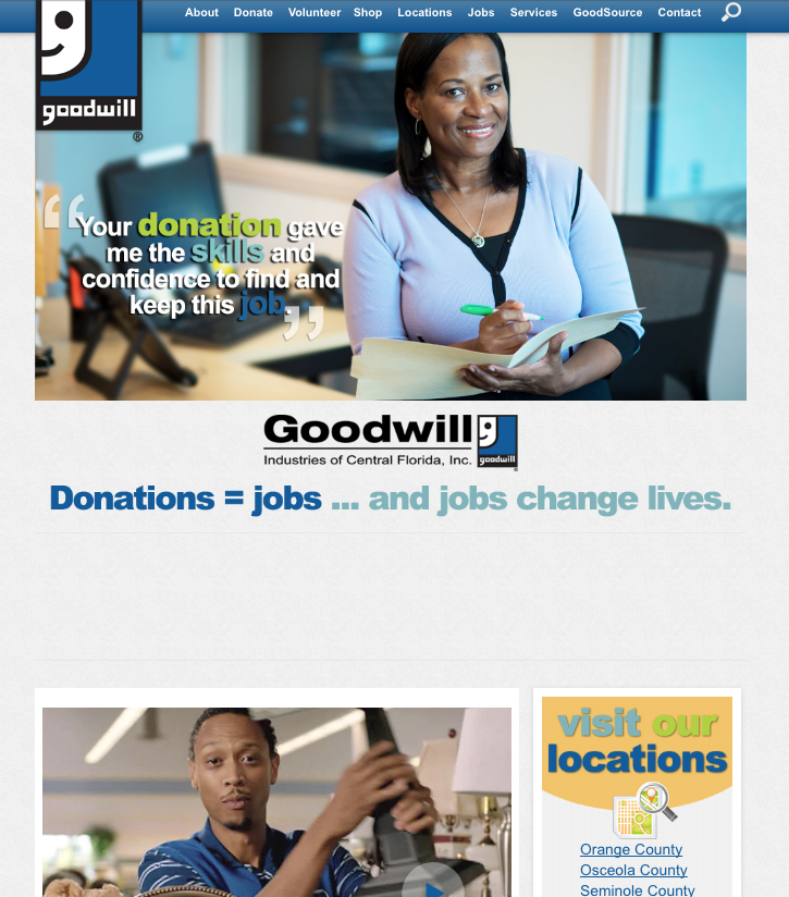 Goodwill – Previous Non-Responsive Website