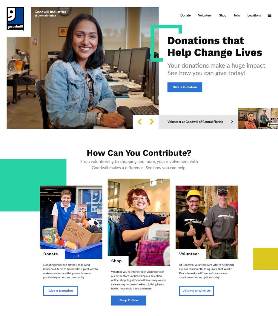Goodwill Industries of Central Florida Website Home Page