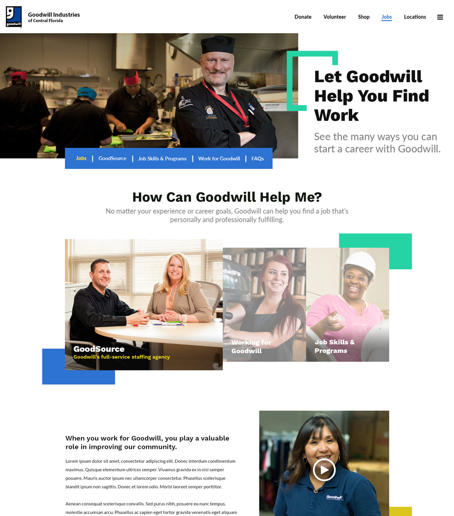 Goodwill Industries of Central Florida Website Jobs Page