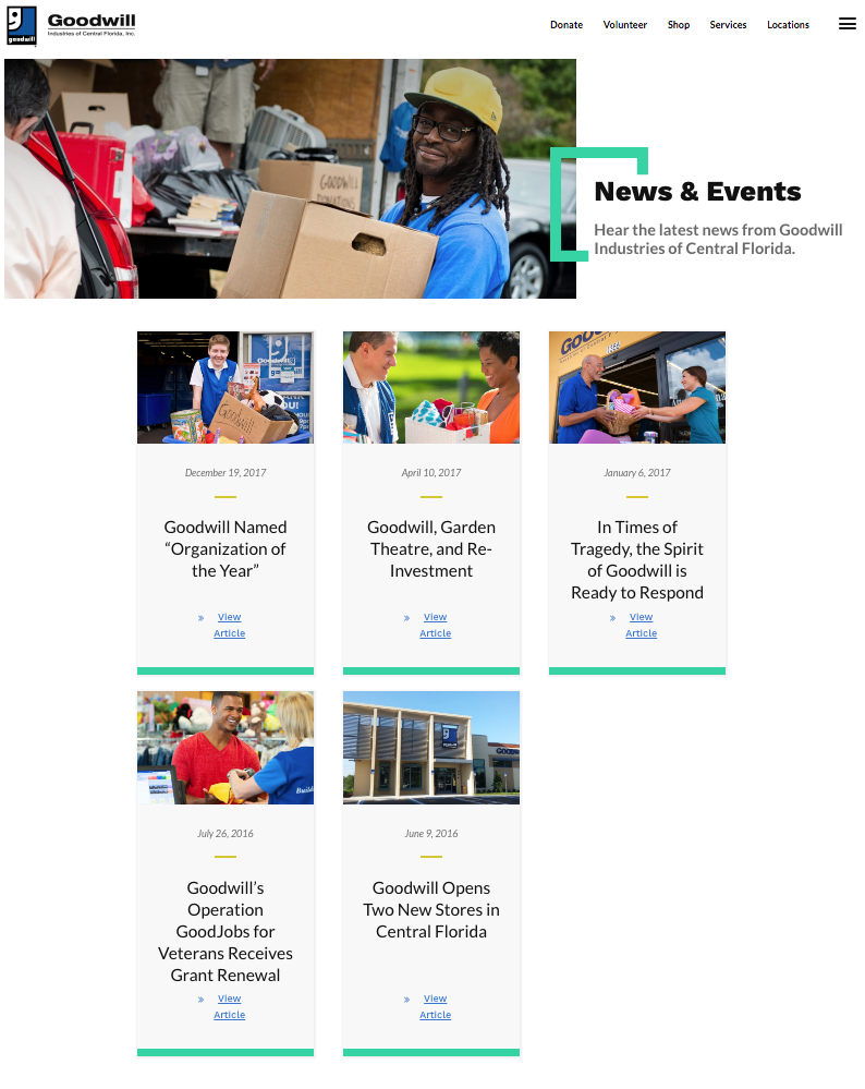 Goodwill Industries of Central Florida Website News and Events