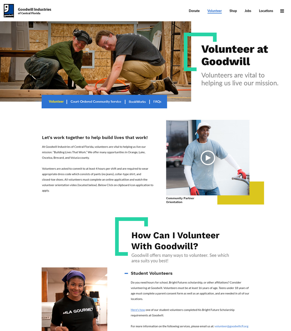 Goodwill Industries of Central Florida Website Volunteer Page