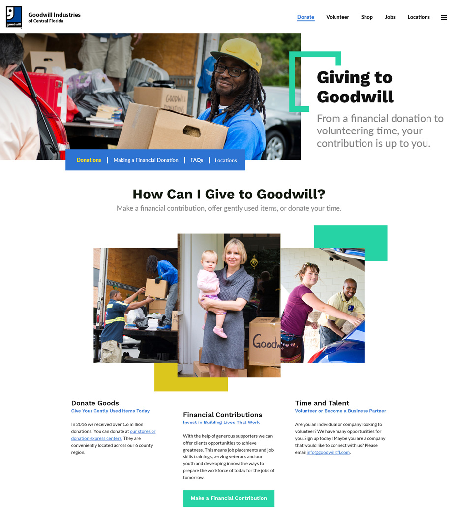 Goodwill Industries of Central Florida Website Donate Page