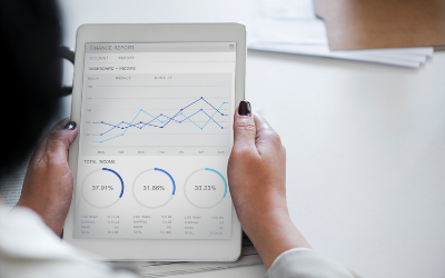 Business performance metrics tracking on an iPad