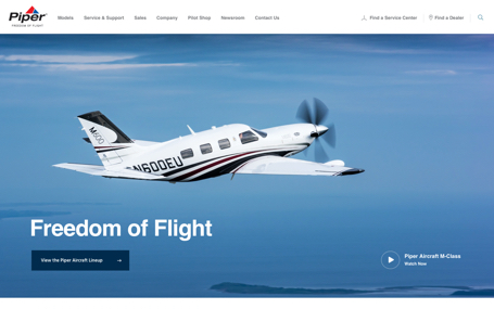 Piper Aircraft Homepage Design