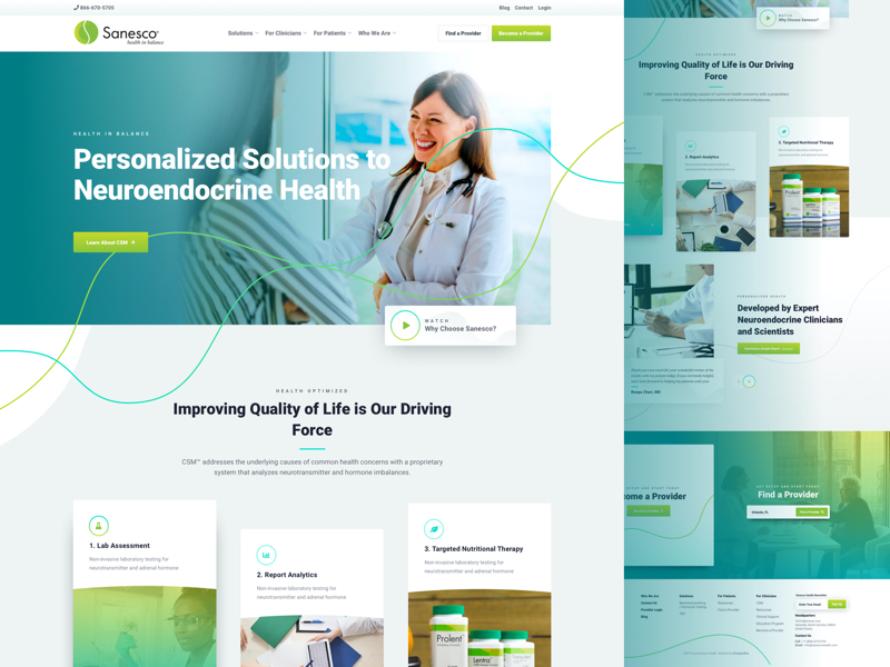 Sanesco Homepage Design | Health in Balance
