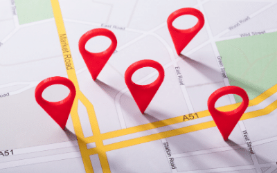 Local search marketing pins on a map for guidance