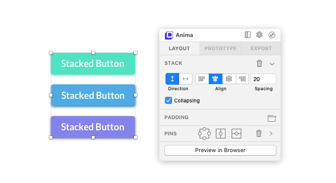 Anima's stack feature being used to define the vertical separation between three buttons