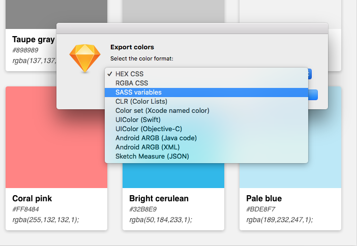 export colors, select color format, SASS variables