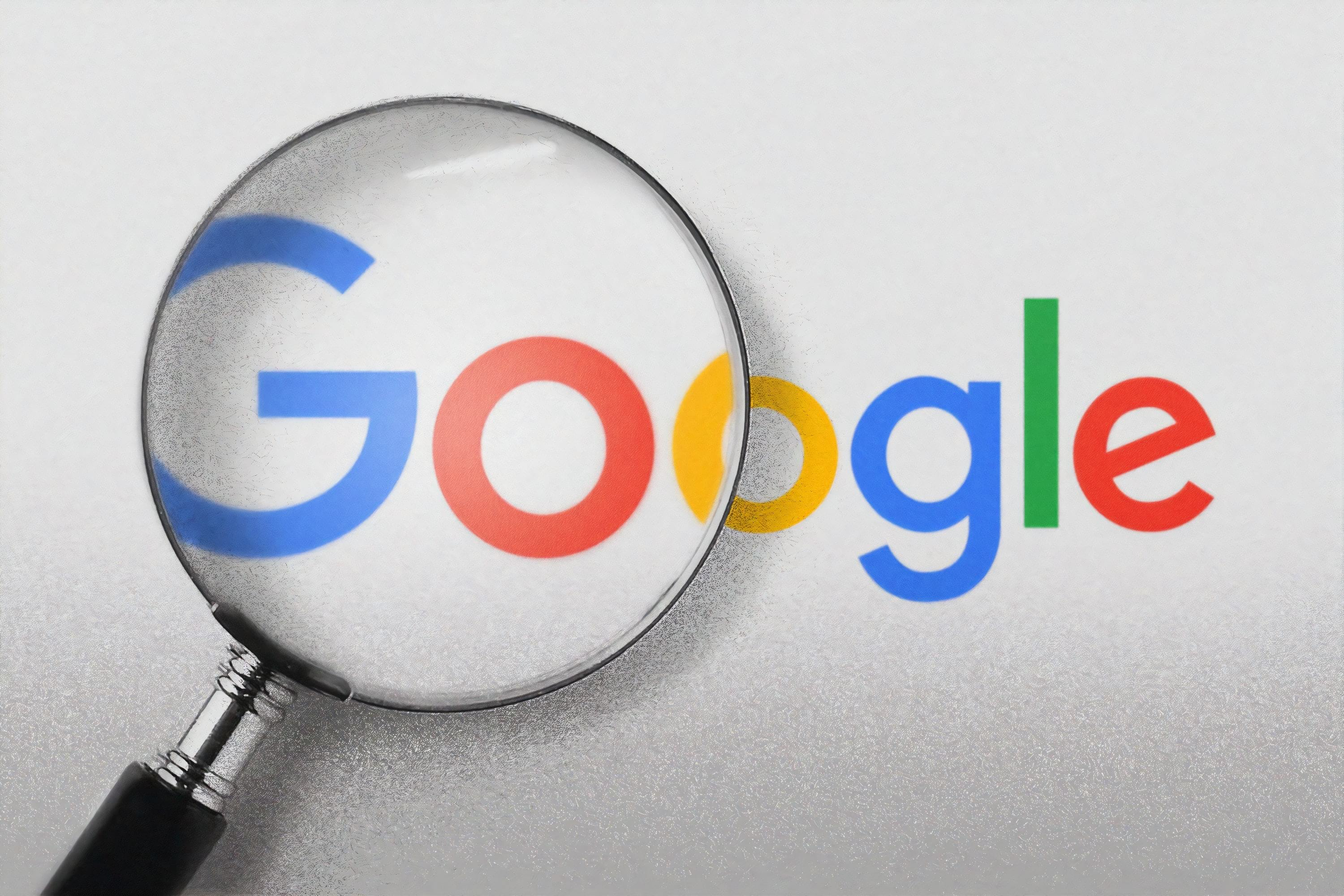 Google logo with a magnifying glass