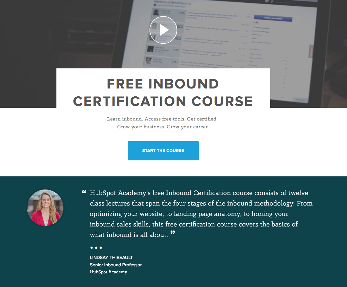 Hubspot's Free Inbound Certification Course