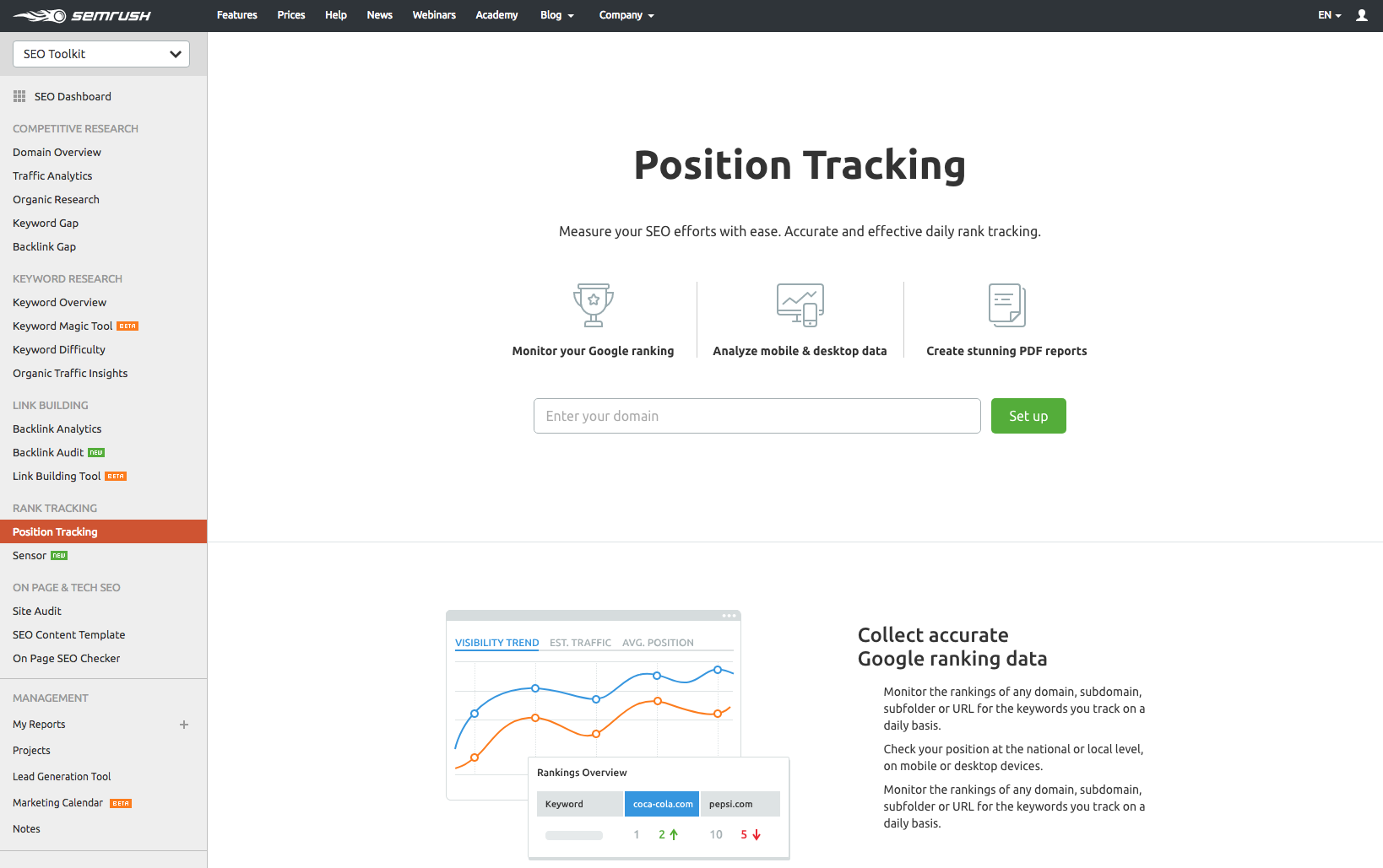 semrush position tracking tool example