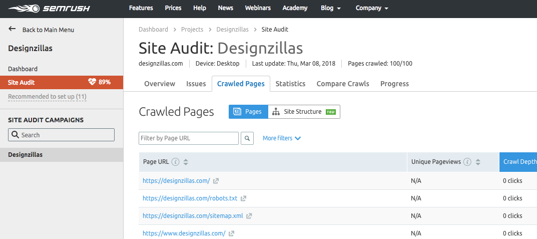semrush site audit tool example