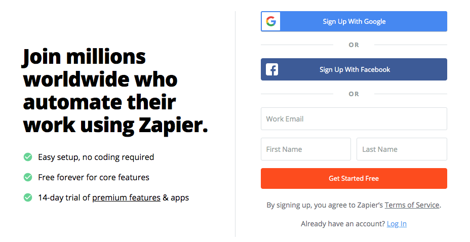 Zapier sign up