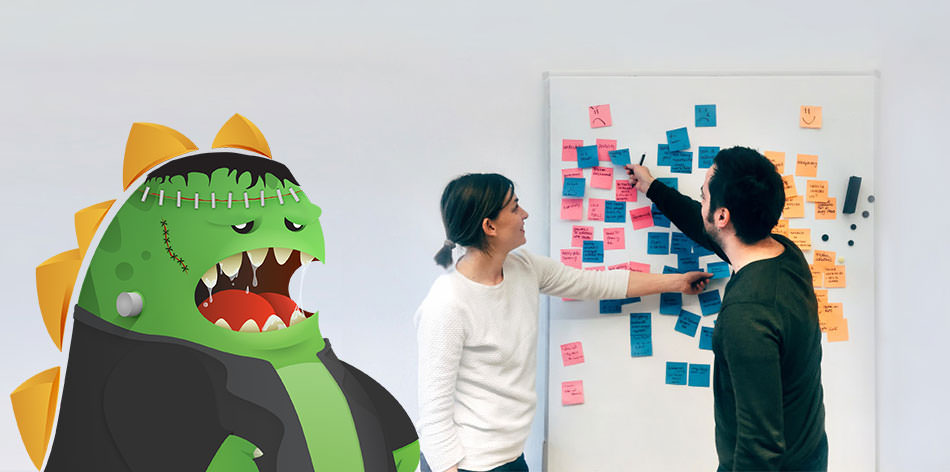 People planning a digital marketing strategy next to a frankenstein zilla