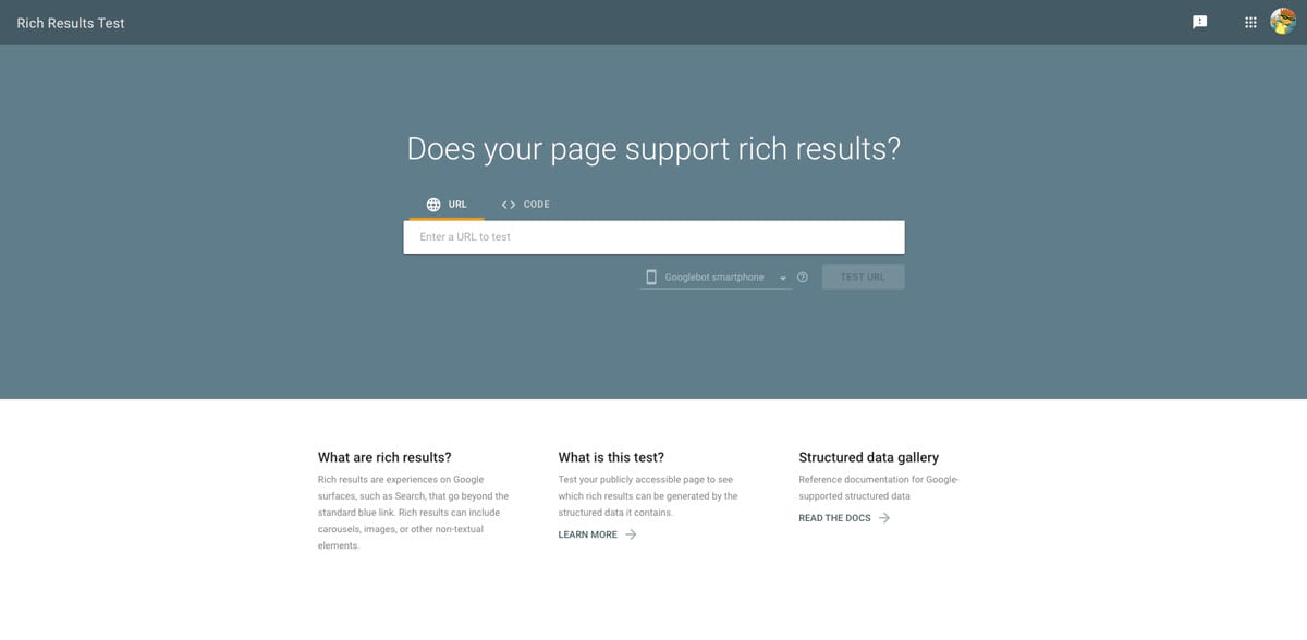 Google Rich Results Test Tool Page